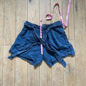 High rise chambray shorts